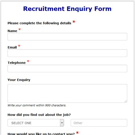 inquiry form template formwize exles