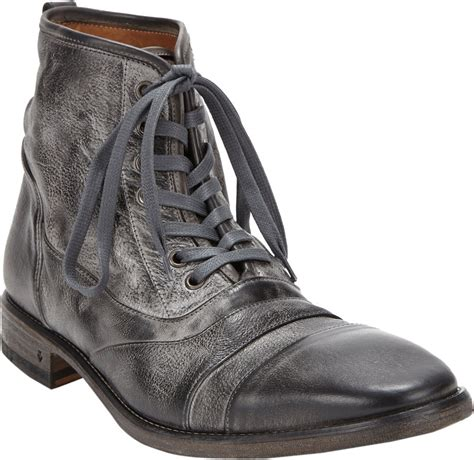 varvatos boots varvatos fleetwood laceup boots in silver for lyst