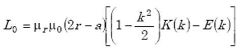 formula for loop inductance coil32 single circular loop