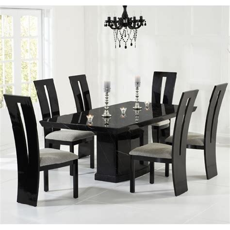Black Dining Table Grey Chairs Hamlet Marble Dining Table In Black And 6 Ophelia Grey