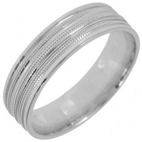 6 0mm 10k white gold milgrain etched wedding band