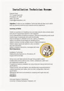 Installation Technician Sle Resume by Resume Sles Installation Technician Resume Sle