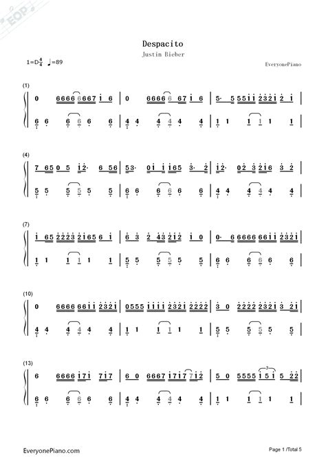 despacito chord despacito justin bieber numbered musical notation preview