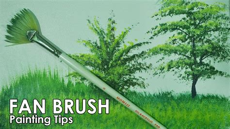 fan brush painting acrylic painting lesson how to paint grasses and other