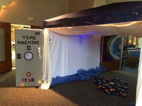 christmas vbs themes blast to the past vbs theme time machine entryway vbs