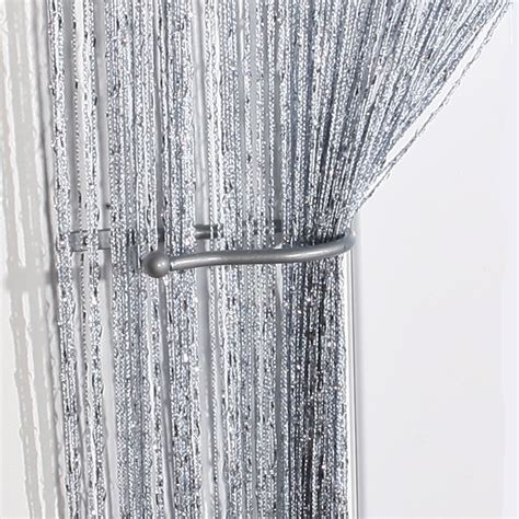 string curtain panel voile panels jazz giltter string curtain panel silver