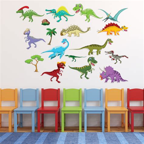dinosaur wall decals for rooms dinosaur wall sticker set triceratops t rex wall decal room home decor ebay