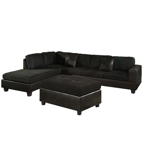 black microfiber couches venetian worldwide dallin sectional sofa with left ottoman