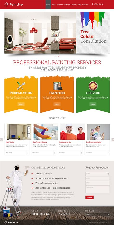 Painting Company Responsive Wordpress Template On Behance Painting Website Templates