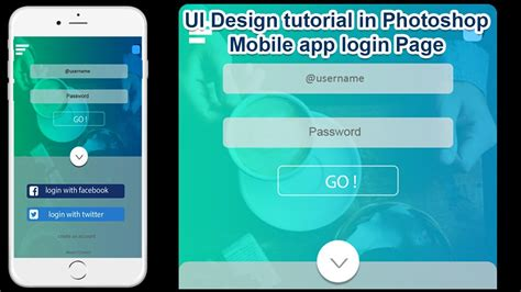 mobile app login ui design tutorial in photoshop mobile app login page step