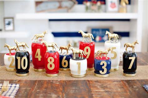 cing themed table decorations kentucky derby diy race jars hostess