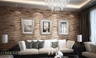 Living Room With Brick Effect Wallpaper Luxury Wood Blocks Brick Wall Effect Vinyl 10m Wallpaper