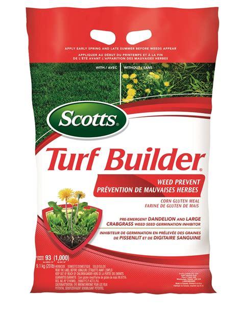 scotts kg turf builder  season weed prevent lawn fertilizer lowes canada