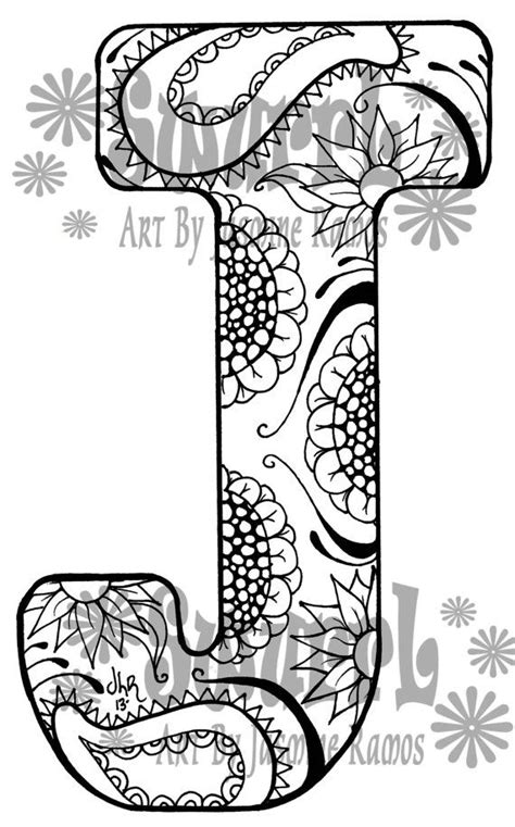 Instant Download Coloring Page Monogram Letter J By Swurrl J Coloring Pages
