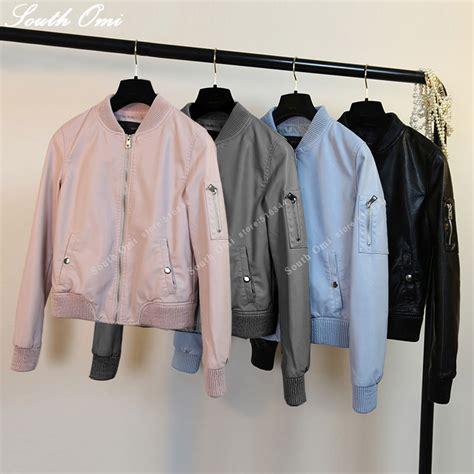 Jaket Wanita Bomer Pink new leather bomber jacket pink blue black jacket