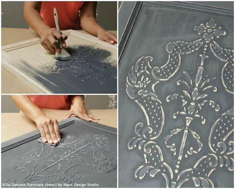 chalk paint effects how to stencil create a diy raised carved wood effect