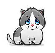 Cartoon Gray Cat With Sad Eyes Royalty Free Stock Photo  Image