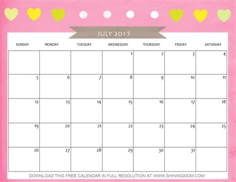 printable monthly calendar for july 2015 8 lovely july 2015 calendars