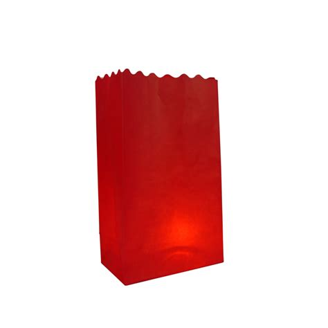 red solid color luminarias paper craft bag 10 pack fire