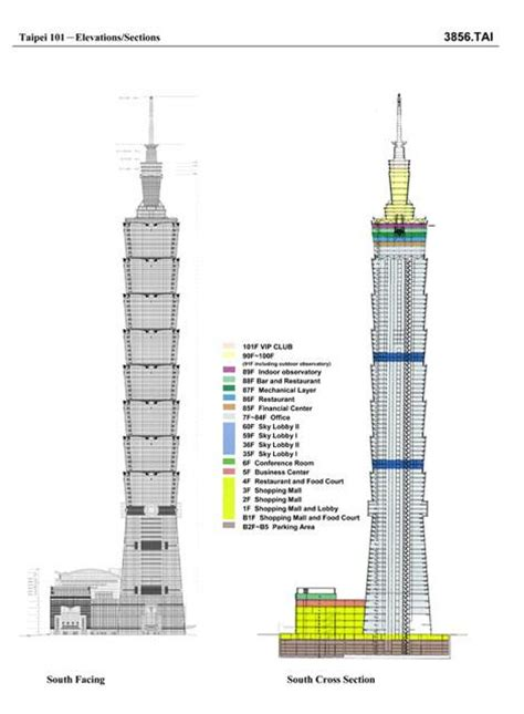 Architecture Design 101 Taipei 101 Elevations Sections Archnet