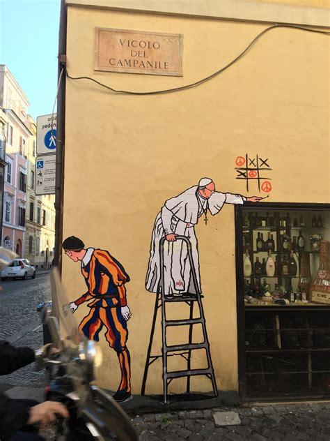 heres  latest papal graffiti  rome   artist