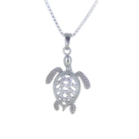 sterling silver sea turtle necklace with cz landing company