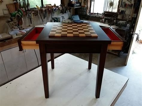 chess table with drawers crafted custom wood chess table with drawers