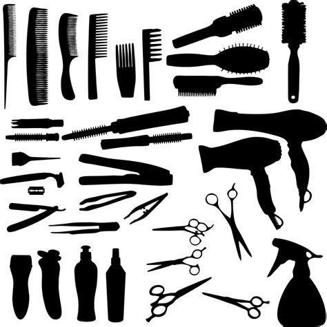 Hairstyle Tools by Clipart Hair Tools And Accessories Silhouette
