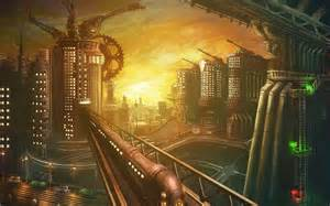Late afternoon train travelling through a steampunk city wallpaper