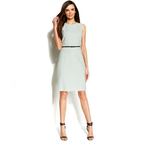 calvin klein sleeveless belted sheath dress in green lyst