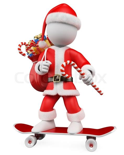 3d Christmas White People Santa Claus Riding Skateboard Click Santa Claus Skateboard