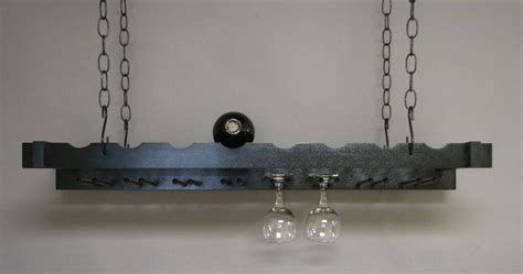 Hanging Wine Shelf by Gray Wooden Hanging Wine Stemware Rack With Black Chain As