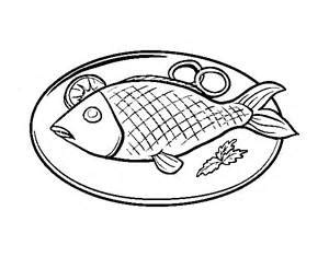 cooked fish coloring page fish on a plate clipart black and white clip art library