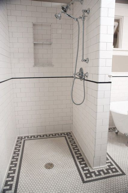 black and white border tiles for bathroom white hex tile black border subway tile