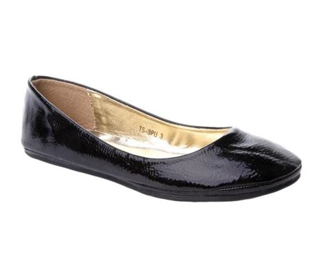 dolly shoes womens black patent flat dolly pumps shoes uk size 3 8