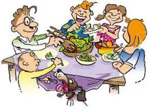 eating dinner on time with family on dinning table cartoon