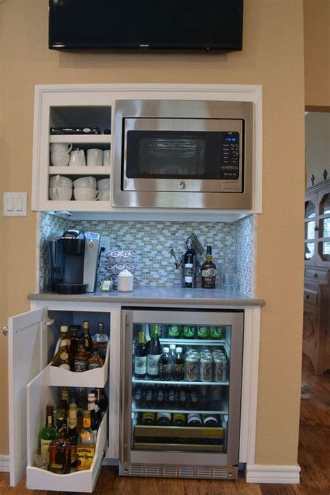 built in bar built ins and wine fridge on pinterest custom beverage bar with slide out wine rack built in