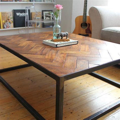 Floor Tables by Large Upcycled Parquet Floor Coffee Table By Ruby Rhino