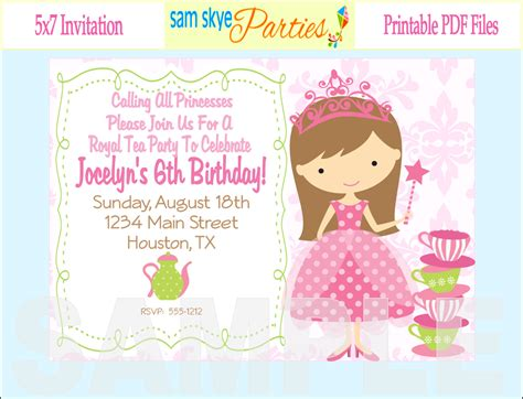 free princess tea invitation template printable birthday invitations for dolanpedia