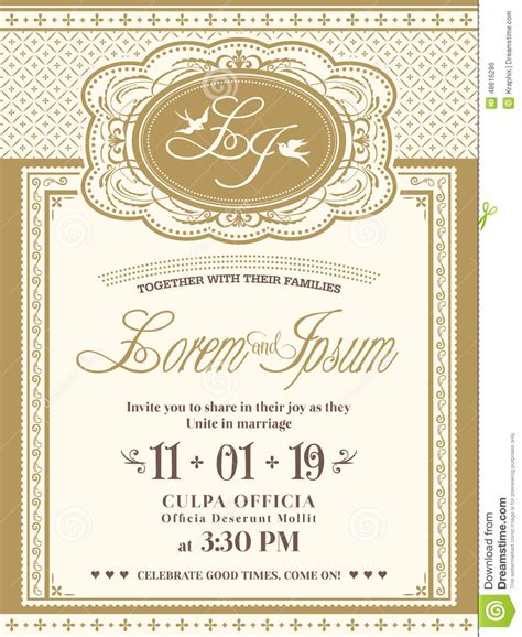 classic wedding card template vintage frame wedding invitation card background stock