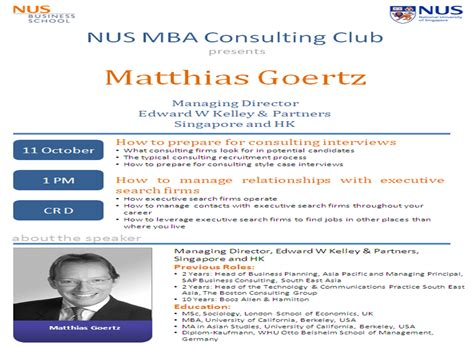 Wharton Mba Marketing Club by The Nus Mba Consulting Club A Session With Matthias Goertz