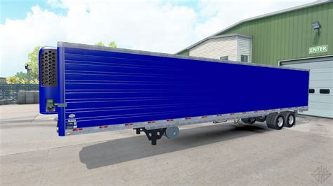 semi trailer truck blue refrigerated semi trailer for american truck simulator