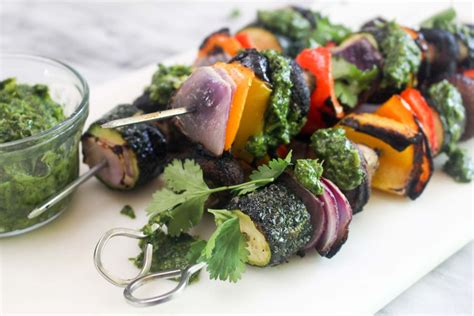 vegetables kabobs vegetable kabobs with charred scallion chimichurri
