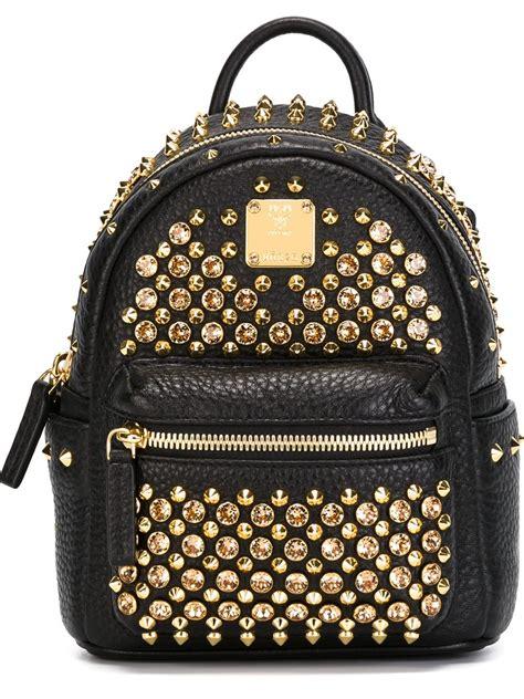 Mini Studded mcm mini studded backpack in gold black lyst