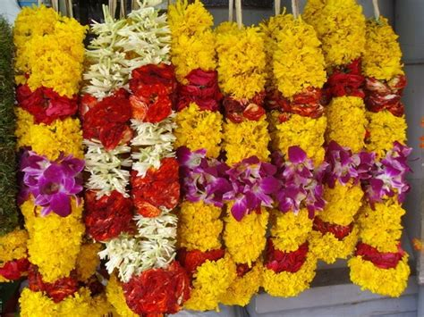 Flower Garlands For Indian Weddings Yellow Red And Orchid Flower Garland Indian Wedding