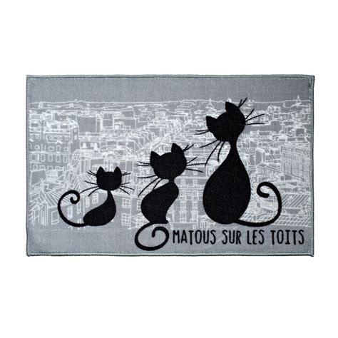 Tapis Chat tapis de chambre 50 x 80 cm chat gris tapis de chambre
