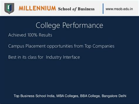 Bangalore Mba Results by Millennium School Of Business Msob Top Business