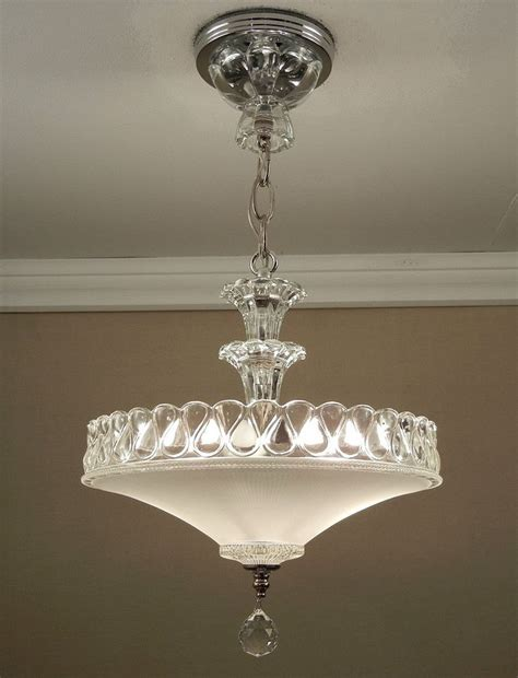 Vintage Ceiling Light Fixtures Antique 1940s Vintage American Deco White Pressed Glass Chrome