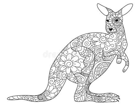 anti stress coloring book australia kangaroo coloring book vector for adults stock vector