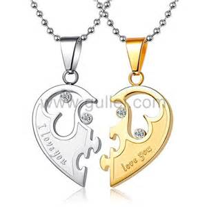 Customized Couple Necklaces Customized Love Names Half Heart His And Hers Necklaces Set For Two Personalized Couples Gifts